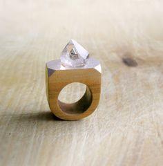 Gemstone geometric wooden Ring with Rock by AbraKadabraJewelry
