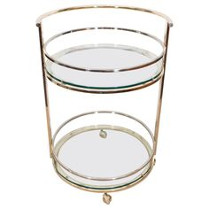 Milo Baughman Style Round Brass Bar Cart with Chrome Accents | From a unique collection of antique and modern bar carts at https://www.1stdibs.com/furniture/tables/bar-carts/