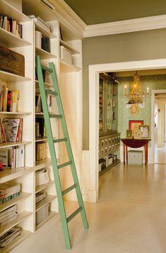 ladder with bookshelves Ladder Bookcase, Bookshelves, Ladder Decor, Household, Sweet Home, Flooring, Architecture, Vintage, Design