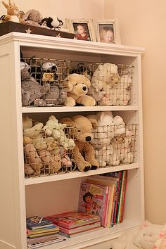 stuffed animal storage..love this...where to find wire baskets like that?!