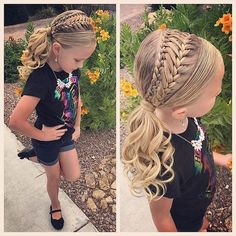 Little Girl Hairstyles Girls Hairdos, Dance Hairstyles, Cute Girls Hairstyles, Easy Hairstyles For Long Hair, Pretty Hairstyles, Braided Hairstyles, Wedding Hairstyles, Kids Hairstyle, Wedding Updo