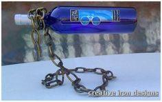 welded chain cantilever wine bottle holder