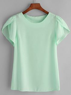Designer Clothes, Shoes & Bags for Women Petal Sleeve, Office Ladies, Tunic Blouse, Green Tops, Spring Outfits, Blouses For Women, Trendy Fashion, Chiffon Tops, Mens Tops