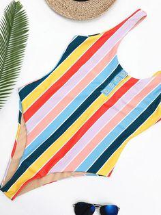 efe364655a Stripes High Waist One-piece Swimwear