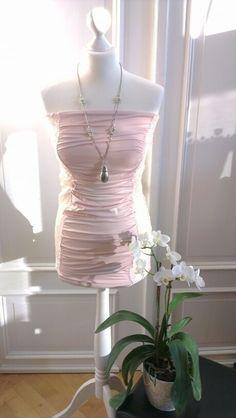 Long Top Bandeau Kleid in rosa mit Spitze
