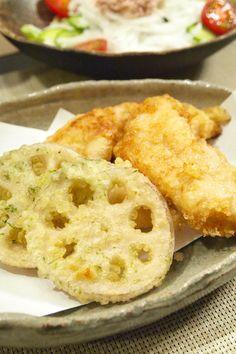 和食】「とり天&蓮根の海苔塩天ぷら」&新玉ねぎサラダ&茶飯とおでん ...