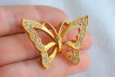 Monet Butterfly Rhinestone Gold Tone Brooch