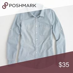 J. Crew The Perfect Shirt Chambray Top EUC. No flaws. I'll add pics in a couple days! Size small but fits like a medium in my opinion. J. Crew Tops Button Down Shirts