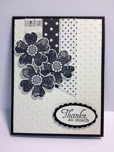 A Monochromatic Flower Shop Thank You Card Stampin' Up! Rubber Stamping Handmade Cards Could be used as a Birthday Card, Get Well Card, Thinking of You Card