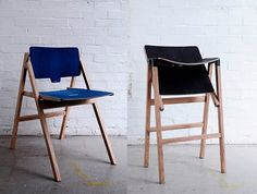 "Multi-purpose Chair/Stool  Many kitchens nowadays are connected to the living room to create one larger, open space. The only visible divider between the two functions is often a dividing bar, otherwise known as an ""island"". My chair can become a bar stool and functions with an ""island"", as well as providing comfortable seating by a dining table. It can then be folded away completely after use/Krystian Kowalski"