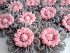 SLAVENA and Pink Crochet Decoration Applique For Hairbands Flowers Daisies Scarves, Bags Supplies Ideas for flower loom love pink and grey Loom Yarn, Loom Crochet, Crochet Crafts, Yarn Crafts, Loom Flowers, Crochet Flowers, Fabric Flowers, Loom Knitting Projects, Crochet Projects