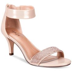 Style & Co. Phillys Two-Piece Evening Sandals, ($70) ❤ liked on Polyvore featuring shoes, sandals, rose gold sparkle, ankle wrap sandals, rose gold glitter shoes, ankle strap sandals, glitter sandals and special occasion shoes