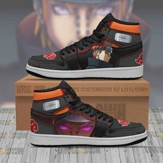 Naruto Shoes, Painted Sneakers, Great Anniversary Gifts, Custom Made Shoes, Air Jordan Sneakers, Anime Gifts, Sneaker Boots, Akatsuki, Poses