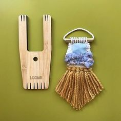 A cute tiny weaving I made using my new Big A model Loome tool. I've recently added some Loome tools in this style to my shop. Traditional Art, Textile Art, Jewelry Crafts, Loom, I Shop, Tassels, Art Pieces, Tapestry, Drop Earrings