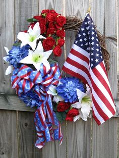 Patriotic Rose Lily and Dahlia Flag Wreath, by IrishGirlsWreaths on Etsy, $129.99