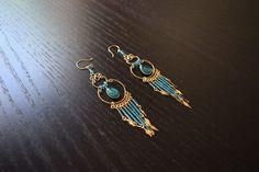 Cute Peruvian Chandelier Earrings Green Sky Blue by SassyandCool