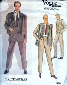 Vintage Vogue CLAUDE MONTANA 1070 Jacket Vest And Pants Sewing Pattern Size 12 Bust 34 by vintagepatternstore on Etsy