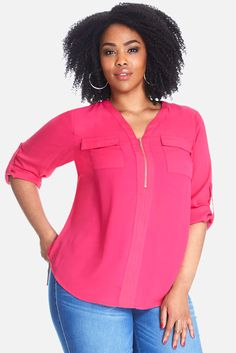 Top it off. Shop Fashion to Figure for plus size blouses, shirts, bodysuits, sweaters and more – in all the latest styles. Trendy Plus Size Clothing, Plus Size Blouses, Plus Size Tops, Plus Size Outfits, Fashion To Figure, Comfortable Fashion, Types Of Fashion Styles, Zip, My Style