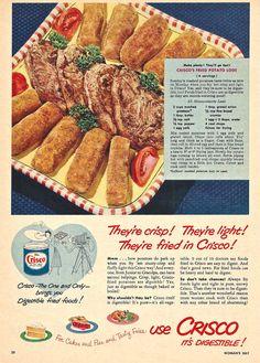 1950s CRISCO FOOD Ad - Fried Potato Logs