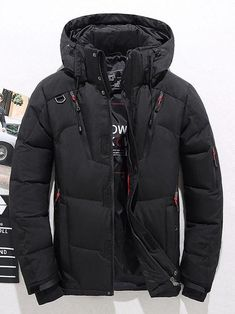 Men's Winter Warm Duck Down Jacket Ski Jacket Snow Hooded Coat Climbing Outwear Mens Parka Jacket, Mens Down Jacket, Duck Down Jacket, Hooded Jacket, Cool Outfits For Men, Trendy Outfits, Mens Fashion Sweaters, Men's Coats And Jackets, Parka Jackets