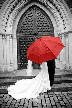 Red umbrella black and white wedding photography ❤ www.customdreamgowns.com