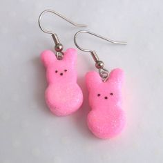 Marshmallow Peeps Earrings - Bunny Peeps Dangle Earrings - Your choice of color - Fun Dangle Earrings - Food Earrings - Mini Food Jewelry