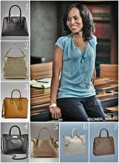"""""""Scandal Moments presents 7 Prada Handbags Olivia Pope MUST have in her closet:    1.  Prada Pyramid Frame Bag   2. Prada D-Ring Glace Leather Hobo   3. Prada Saffiano Lux North-To-South Tote Bag   4. Prada Saffiano Medium Tote   5.  Prada Side-Pocket Hobo   6. Grained Calf Leather Tote   7. Prada Saffiano Leather Tote""""  Obsessed with her style, I'll take all of these bags please!"""