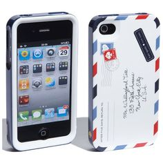 kate spade new york 'airmail' iPhone 4 & 4S case ($24) ❤ liked on Polyvore featuring phones, iphone, accessories, electronics and iphone cases
