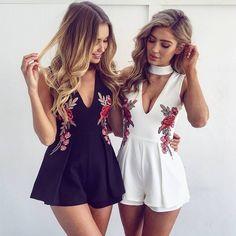 Rose Embroidery V-neck White Black Women Jumpsuit - FashionandLove.com
