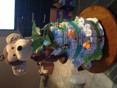 Baby boy monkey diaper cake I made for  a   friends baby shower.