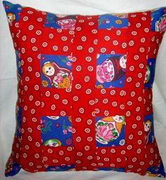 Babushka patchwork Cushion by gonevuku on Etsy, $30.00