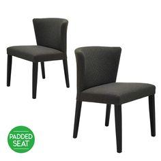 SET OF 2 $399 Nia Modern Designer Dining Chair- Mud with Black Legs