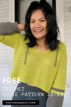 Crochet Hoodie, Crochet T Shirts, Diy Crochet, Crochet Clothes, Hoodie Pattern, Crochet Fashion, Crochet Projects, Ideias Fashion, Crochet Patterns