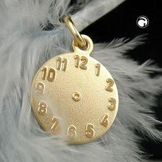Anhänger, Taufanhänger Uhr, 9Kt GOLD, matt-glänzend