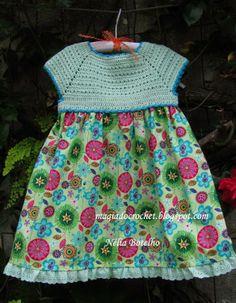Magia do Crochet Crochet Toddler Dress, Crochet For Kids, Crochet Fabric, Crochet Patterns, Magia Do Crochet, Crochet Collar, Girls Dresses, Summer Dresses, Baby Dress