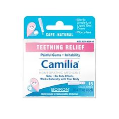 Camilia Teething Relief - Works like a charm! This gentle homeopathic medicine comes in pre-measured, individual doses that are kid-friendly and easy to swallow. Naturally free of sugar and preservatives, it leaves no unpleasant taste. More importantly, Camilia won't mask any symptoms that could lead to the discovery of a more severe health problem.
