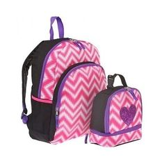 cc535c313521 Girls Backpack Book Bag Pink Heart Lunchbox Combo School Supplies Bundle  Striped Girl Backpacks