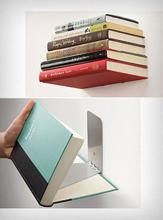 Floating Books Shelf--I would put this right next to my bed, instead of a traditional bedside table!