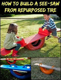 Kyeep The Kids Entertained With This Tire Seesaw! Tire Playground, Kids Outdoor Playground, Outdoor Play Spaces, Outdoor Toys, Outdoor Fun, Kids Yard, Backyard For Kids, Diy For Kids, Dora
