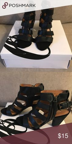 Nine West Caged Sandals Cyndyluo design. Black leather with zipper and buckle feature. Worn 1x. Box available. Nine West Shoes Sandals