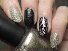 OPI My Favorite Ornament, pinky and pointer finger. Black leather effect polish, middle finger. OPI De-signer, De-better, ring finger stamped with Moyou London plate 07 Fashionista collection.