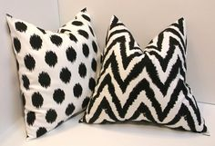 Pair of black and white Decorative throw pillow covers by ShadoBox, $36.00