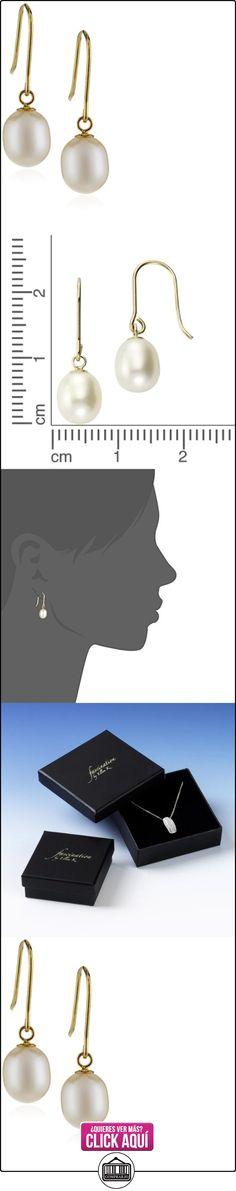 Fascination by Ellen K. - Pendientes de oro amarillo de 8 quilates con perla con cierre de gancho  ✿ Joyas para mujer - Las mejores ofertas ✿ ▬► Ver oferta: https://comprar.io/goto/B0091NT9HW
