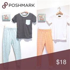 2 Sets Joggers & Tee Blue Gray Heathered Joggers & Tee Matching Set 🐱Comfort Elastic Waist  🐱Fitted At Ankles 🐱Materials: 50% Cotton 50% Polyester  🐱NWOT (Brand comes Tagless) Peaches & Cream Joggers & Tee Matching Set  🐱Tee 50% Cotton 50% Polyester 🐱Joggers 100% Cotton Pampilino's unique outfits balance comfort with style, featuring high-quality fabrics with fun, fresh prints. This collection of apparel is inspired by the active, imaginative world of kids. NWOT (brand from Zulily…