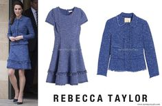 Kate Middleton wore Rebecca Taylor Sparkle Tweed Ruffle Dress and Jacket newmyroyals.com