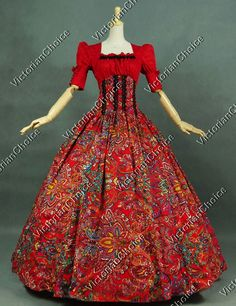 Victorian Civil War Period Dress Ball Gown Prom Reenactment Clothing Theatre