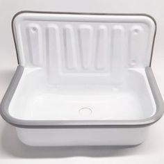 Laundry sink Wall monuntable bathroom enamel sink basin | Etsy Farmhouse Bathroom Sink, White Kitchen Sink, Copper Bathroom, Rustic Bathrooms, Large Galvanized Tub, Barn Sink, Bucket Sink, Stainless Steel Flanges, Utility Sink
