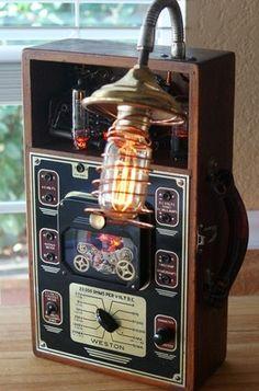 Vintage Steam Punk Lamp – 1940's Volt Meter Vacuum Tubes by Artist   eBay