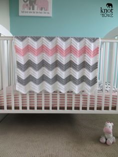 Crochet Chevron Baby/Toddler Blanket Afghan in White by knotnbowz, $84.50