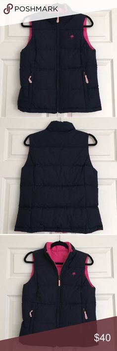Lilly Pulitzer Reversible Vest Lilly Pulitzer reversible vest in navy and pink. In great condition. Down and feather filling. So warm and chic! Lilly Pulitzer Jackets & Coats Vests